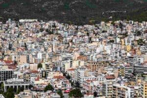 σπίτια πόλης απο ψηλά